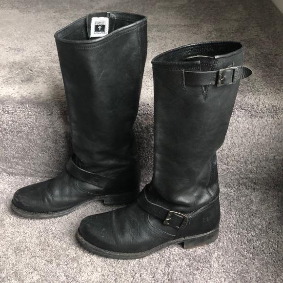 f082428281f Black Leather Frye Boots w/ Brass Buckles